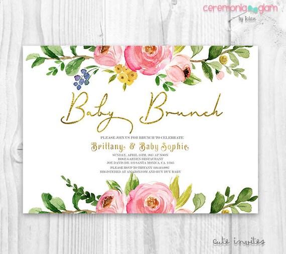 Floral Brunch Baby Shower Invitation Baby Shower Invitation Baby