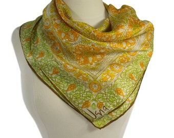 70s Vera Neumann Scarf | Gold Green Brown Scarf