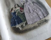 Antique Book, Journal des Demoiselles,French, 1860 ish Complete with 12 Hand Coloured Fashion Plates & 7 Black and White Plates.