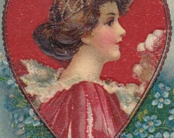 """Ca. 1908 """"Cupid Shooting Arrow at Lady"""" Embossed Valentine Greetings Postcard - 2468"""
