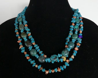 SALE!  22 Inch Triple Strand Dark Turquoise and Orange Coral Necklace with Earrings