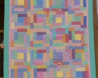 SALE!  Hand Made 57 X 70 Inch 1930s Pastel Reproduction Geometric Quilt 57 by 70 Inches