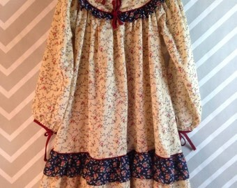 vintage folksy boho hippie prairie dress by peaches 'n cream size 6-7-8 years