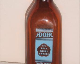 Antique Amber Adohr Milk Bottle - 1 Qt.