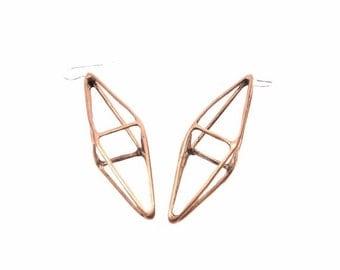30% OFF// octahedron earrings // oxidized bronze