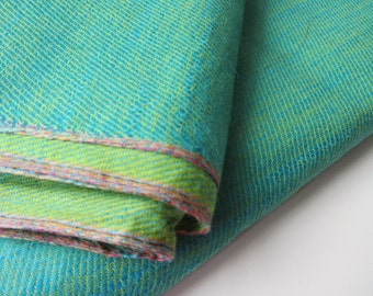 Blue green reversible cotton silk fabric number 813  - per yard or meter