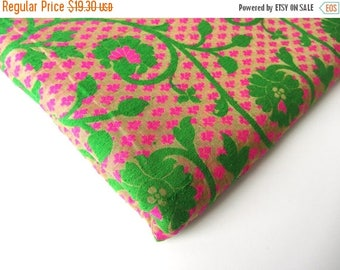 ON SALE Green branches on neon pink, real India brocade, green pink silk,  india silk brocade, fabric nr 178 REMNANT
