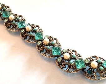 Blue Glass, Turquoise, Pearl Bracelet Vintage Jewelry WINTER SALE