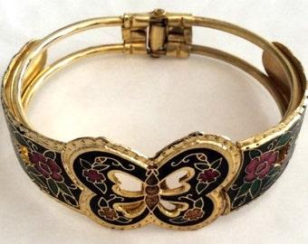 Enamel Butterfly Cuff Bangle Bracelet, Victorian Revival, Vintage Jewelry CHRISTMAS SALE