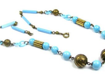 Celluloid Necklace, Blue Robins Egg, 1920s French Art Deco, Vintage Jewelry, SPRING SALE