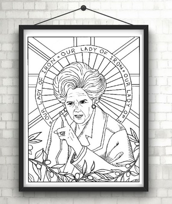 margaret thatcher iron lady portraits coloring pages for adults colouring pages
