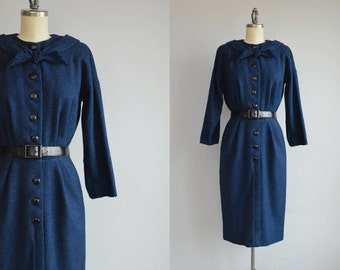 Vintage 50s Dress / 1950s Blue Wool Wiggle Dress with Scarf Neck / Patterned Wool Dress