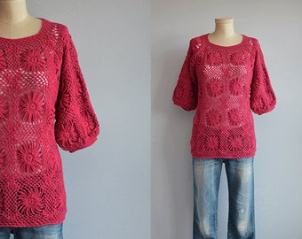 Vintage Crochet Top / 1960s Crocheted Alpaca Hand Made Lace Knit Sweater / Dark Pink