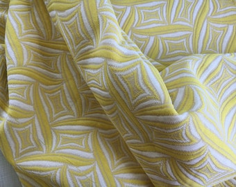 1960s Vintage Polyester Yellow and White print 2.9 yards
