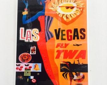 Los Vegas Vintage Travel Poster Wall Tile Decor