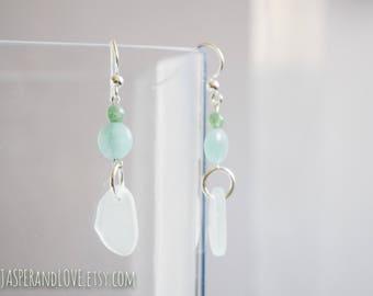 JULIE blue quartz dangle earrings, translucent blue drop earrings, sterling silver earrings, recycled glass earrings, aventurine earrings