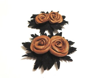 Brown Flower shoe clips, leather rose  shoe clips , shoes accessories
