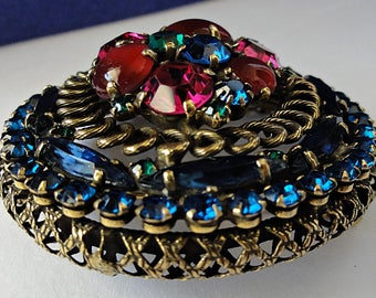 Amazing Weiss Signed Stacked Brooch Blue Green Red Fushia Pink Rhinestones & Cabochons Round Brooch 1950's Spiral Open Work Design 2 Inches