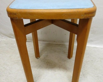 Vintage Mid Century Modern Teak Low Bar Stool Kitchen Seat Eames Era Baby Blue Seat Retro Barstool