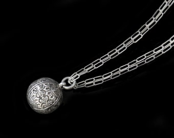 MercurysMoon- Antique Amazingly Detailed Sterling Silver  Orb  Fob Charm Necklace on Double Very Fine Textured Sterling Chain