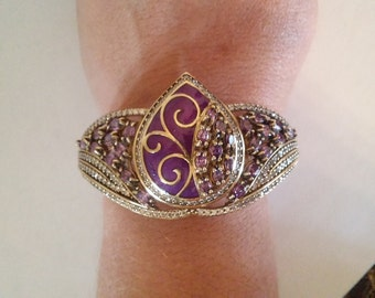Gorgeous Amethyst with White Topaz with Enanmal Purple Decor Marquise Bangle Bracelet
