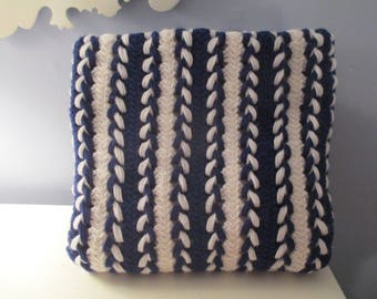 Navy Blue and White Hairpin Lace Blanket