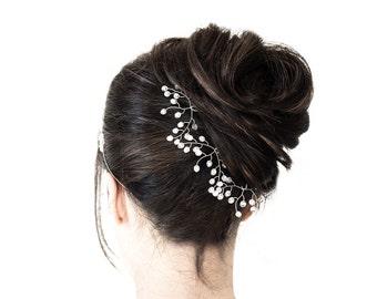 8233_White bridesmaid hair pins, Crystal hair pins, Hair pin silver, Crystal hair accessories, Romantic bridal hair pins, White crystal pins