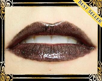 TARTARUS Lip Gloss: 10mL Tube, Black Holographic Glitter Lip Gloss, Rainbow Glitter Lip Glaze, Goth Lip Color, Ships Out in 4-7 Days