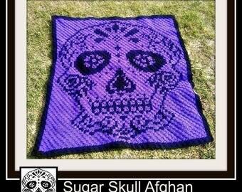 Sugar Skull Afghan, C2C Graph, Written Word Chart