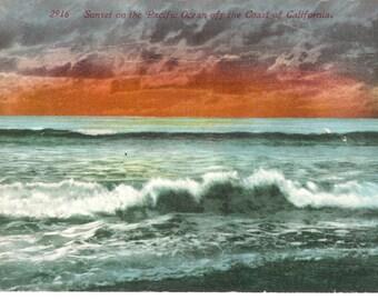 Vintage Postcard...California, Sunset on the Pacific Ocean off the Coast...Unused...no. CA0013