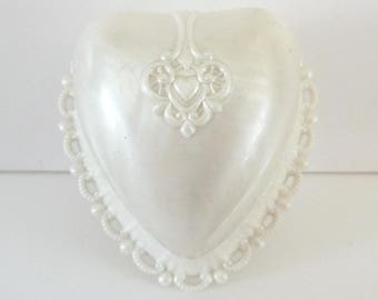 Heart Ring Box Cream Pearlescent Celluloid Ring Box Display Presentation Vintage Ring Box from TreasuresOfGrace