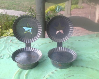 Set of Two Vintage Metal Candle Holders, Vintage Home Decor, Vintage Tin