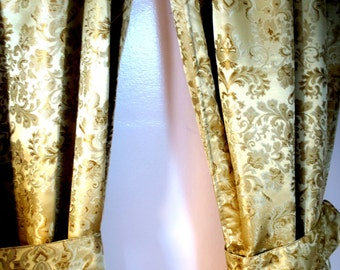 "DRAPES ...   Gold  Brocade Paisley Drapes 48""w x 80"" L per panel"