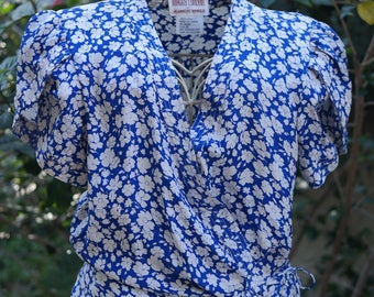 Silk wrap blouse Maggy London by Jeannene Booher S 80s 90s