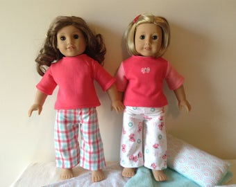 American Girl and other 18 inch doll pajamas, choice of two coordinating designs in coral and teal doll sleepwear