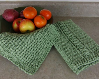 Cabled Tea Towel and Dishcloth - CROCHET PATTERN