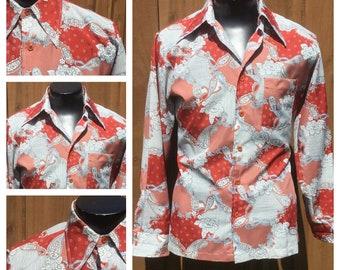 Vintage 1970s Long Sleeve PAISLEY DISCO Shirt -- 70s Paisley Shirt -- Butterfly Collar 70s Shirt