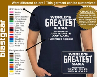 World's Greatest Nana (or any text) Custom Names womens T-shirt — Any color/Any size - Adult S, M, L, XL, 2XL, 3XL