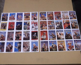 "1992 Roy Rogers ""Gold Signature Series"" Cards, Set of 2 Sheets, 16 Cards per Sheet"