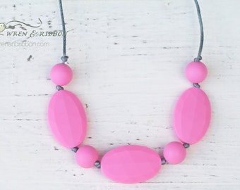 Teething necklace - charlotte - pink gray cream - teething jewelry