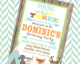 YOUNG WILD & THREE Happy Birthday Party or Baby Shower Invitations Set of 12 {1 Dozen}