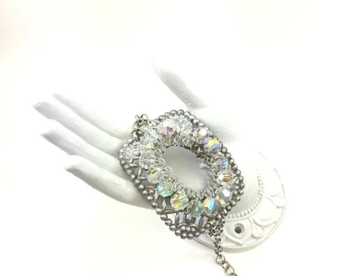 Vintage Buckle Bracelet Handmade with Vintage Aurora Borealis Beaded Brooch
