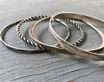 Vintage Sterling Silver Bangles Set of Four Stacking Bracelets Gypsy Boho Fine Jewelry Gift for her