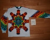 Tie Dye T-Shirt ~ Fire Mandala With White Background ~ C_0149 in Long Sleeve Adult Medium