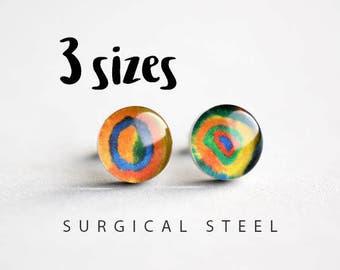 Kandinsky post earrings, Surgical steel stud, Tiny earring studs, Art stud earrings, gift for her, womens earrings