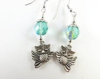 Flying owl earrings