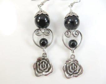 Clearance - Black flower earrings