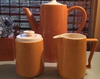 Vintage Mid-Century Coffee Pot, Creamer, and Sugar Set Ceramic