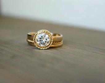 "Halo Engagement Ring 14 K Gold Twined Moissanite Wedding Ring Diamond Halo Design Bride--""Bells"""