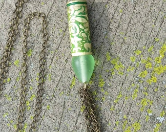 45 colt cartridge necklace with vines and flowers
